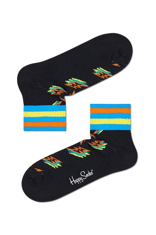 czarny Happy Socks - Skarpety Shadow Flash 1/4 Crew Męski