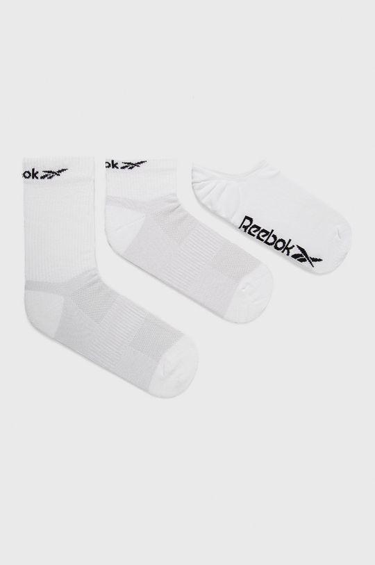 biały Reebok - Skarpetki (3-pack) Unisex