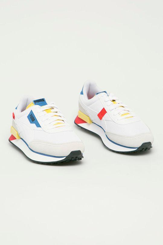 Puma - Dětské boty Futere Rider Neon Play bílá