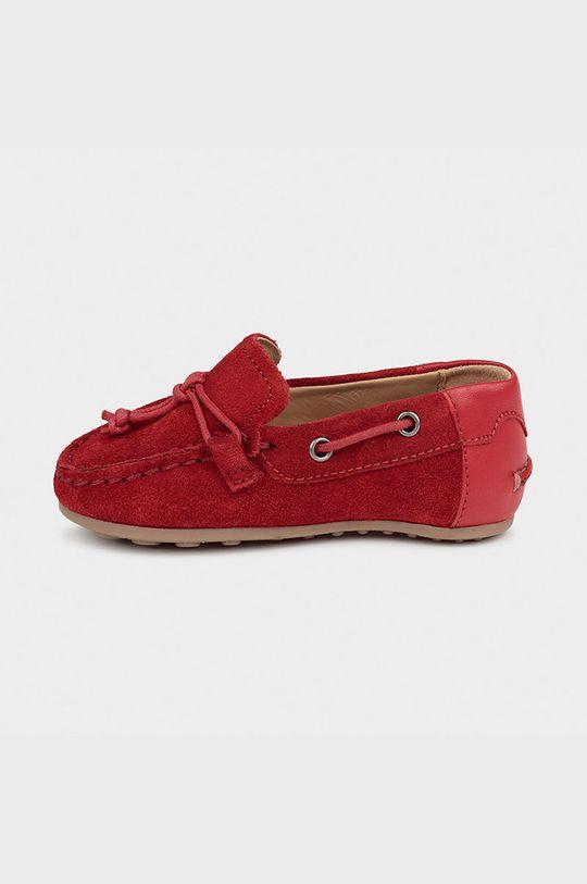Mayoral - Detské kožené mokasíny červená