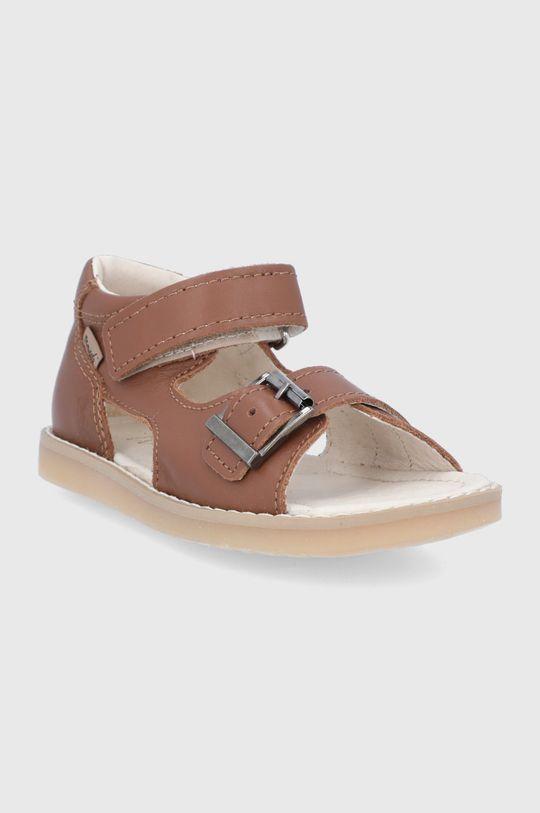 Mrugała - Kožené sandále hnedá