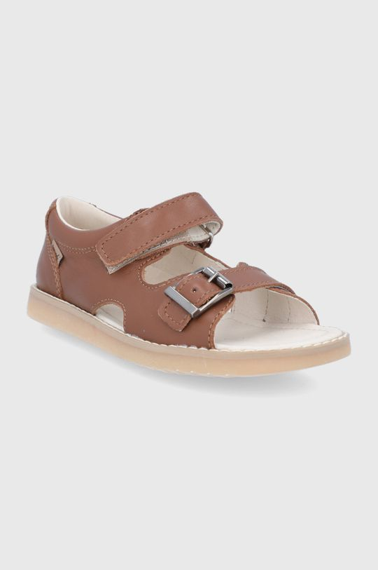 Mrugała - Detské kožené sandále hnedá