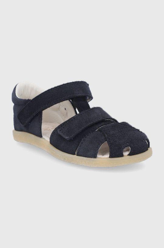 Mrugała - Detské kožené sandále tmavomodrá