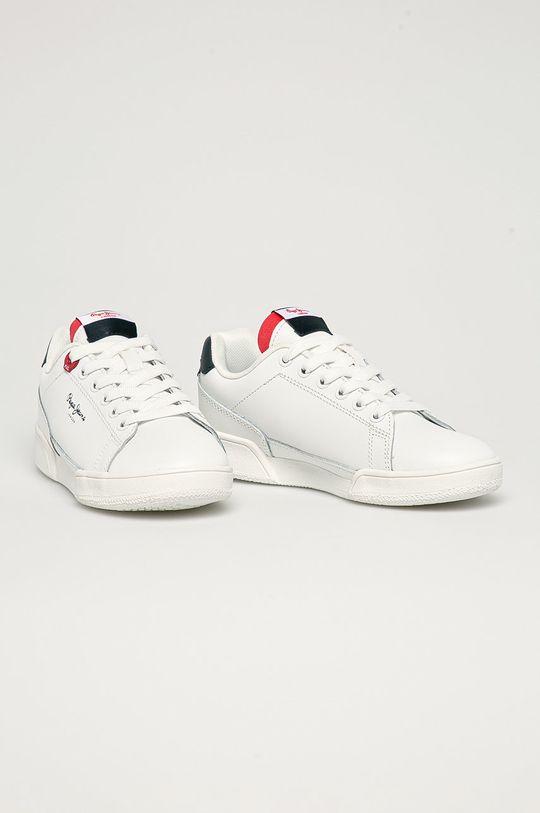 Pepe Jeans - Dětské kožené boty Lambert Britt bílá
