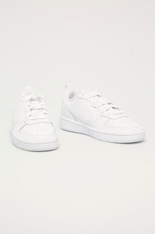 Nike Kids - Dětské kožené boty Court Borough Low bílá