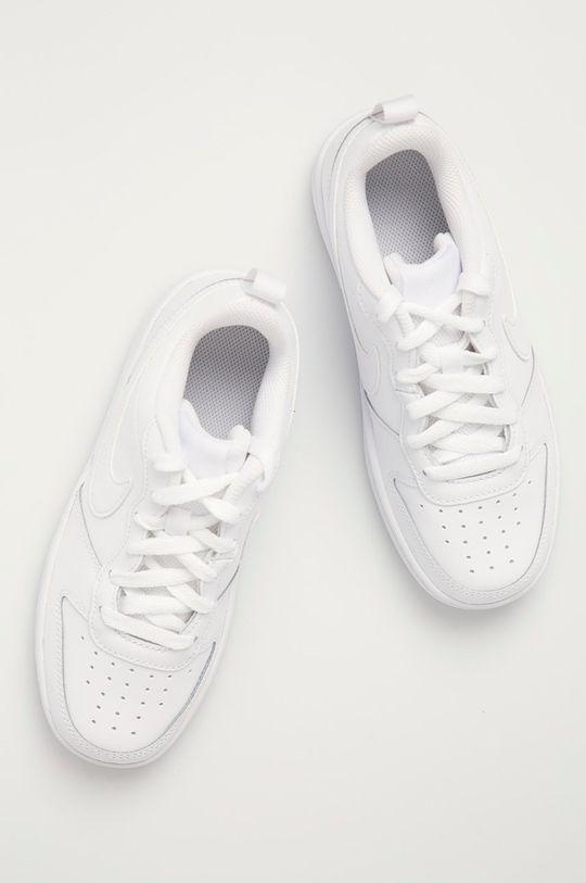 bílá Nike Kids - Dětské kožené boty Court Borough Low