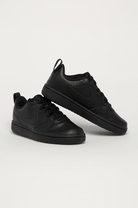 Nike Kids - Detské kožené topánky Court Borough Low čierna