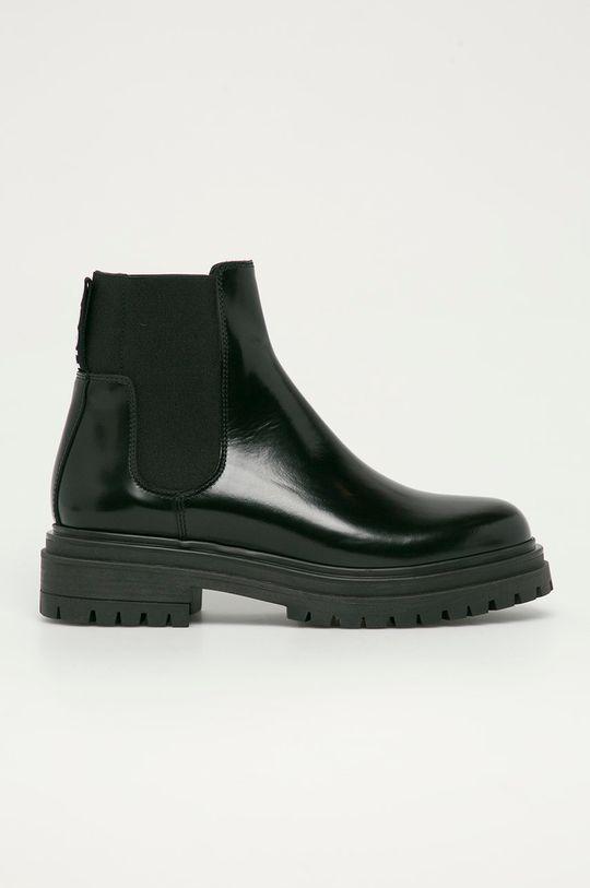 černá Hugo - Kožené kotníkové boty Dámský