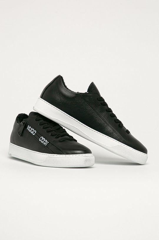 Hugo - Kožené boty černá