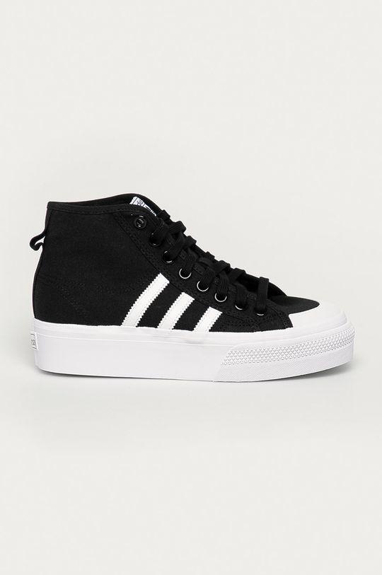 czarny adidas Originals - Trampki Nizza Platform Mid Damski