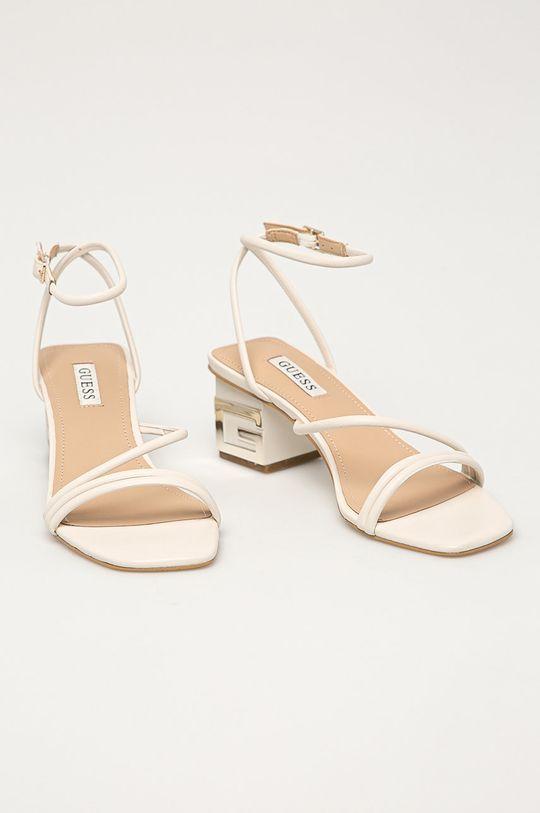 Guess - Kožené sandály bílá