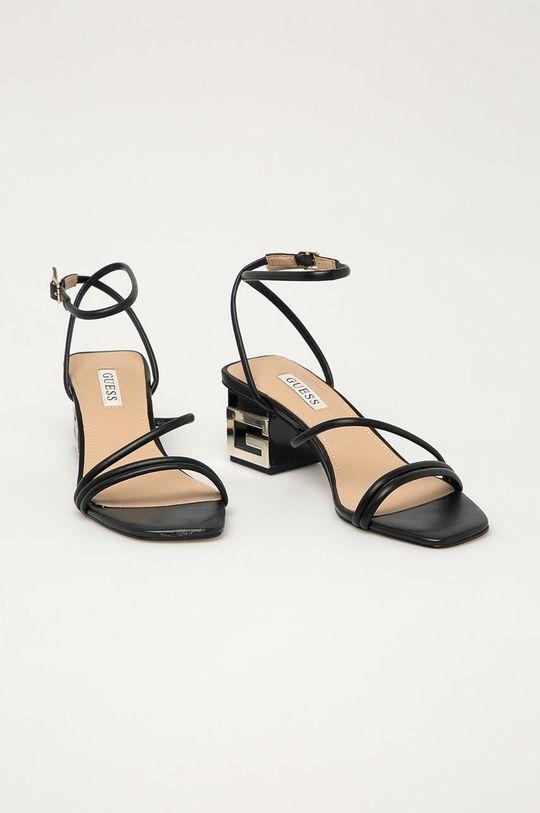 Guess - Kožené sandály černá