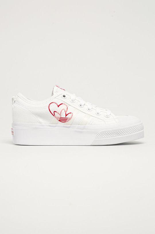 biały adidas Originals - Tenisówki Nizza Platform Damski