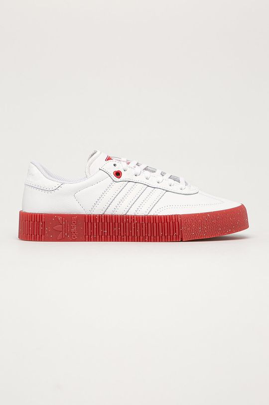 biały adidas Originals - Buty skórzane Sambarose Damski