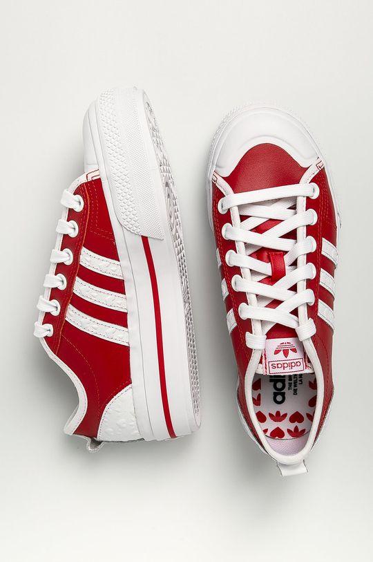 červená adidas Originals - Kožené tenisky Nizza