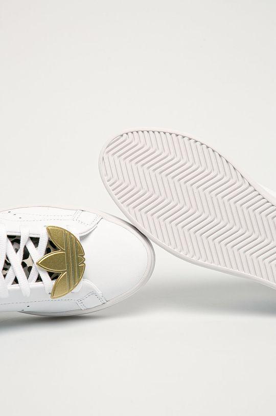 bílá adidas Originals - Kožené boty Sleek