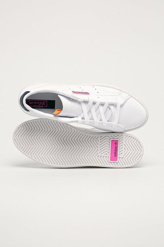 bílá adidas Originals - Kožené boty Sleek W
