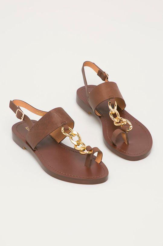 Big Star - Kožené sandály hnědá