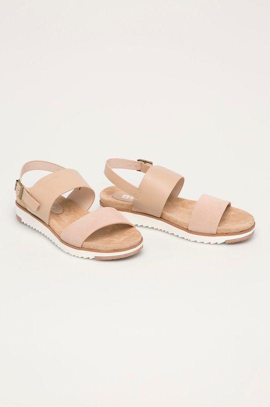 Big Star - Kožené sandály tělová