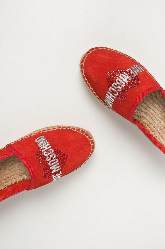červená Love Moschino - Semišové espadrilky