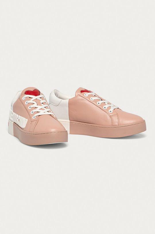 Love Moschino - Kožená obuv ružová