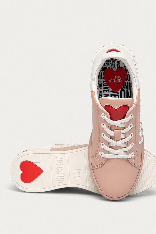 ružová Love Moschino - Kožená obuv