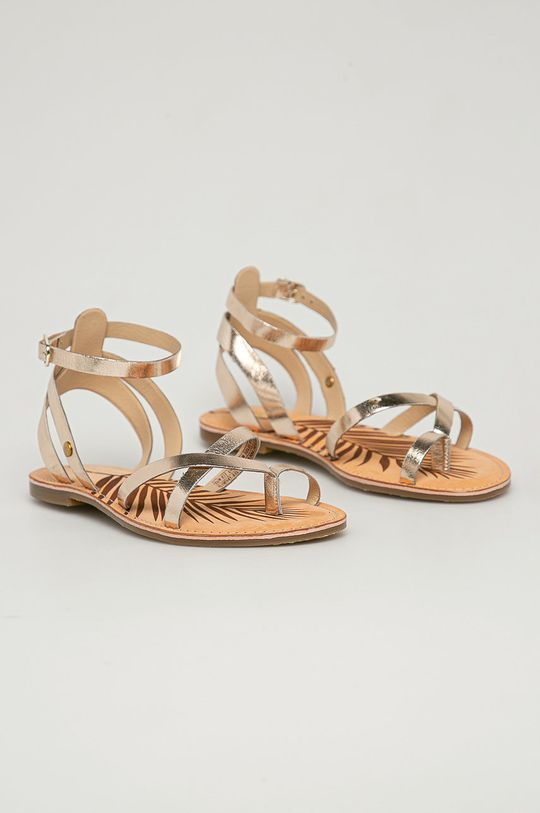Pepe Jeans - Kožené sandály March zlatá