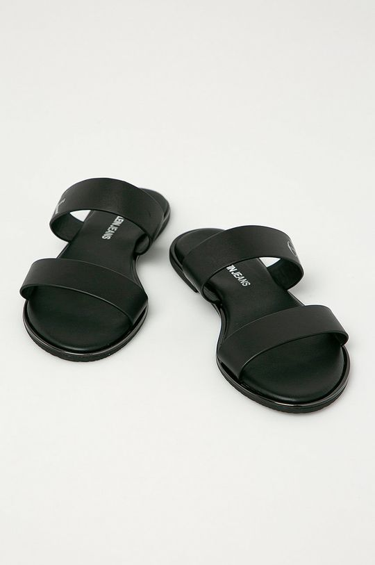 Calvin Klein Jeans - Kožené šľapky čierna