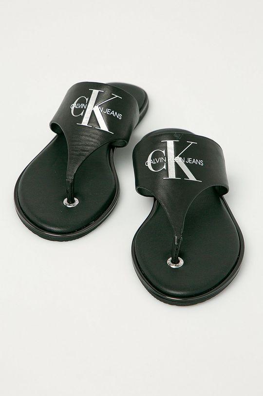 Calvin Klein Jeans - Japonki skórzane czarny