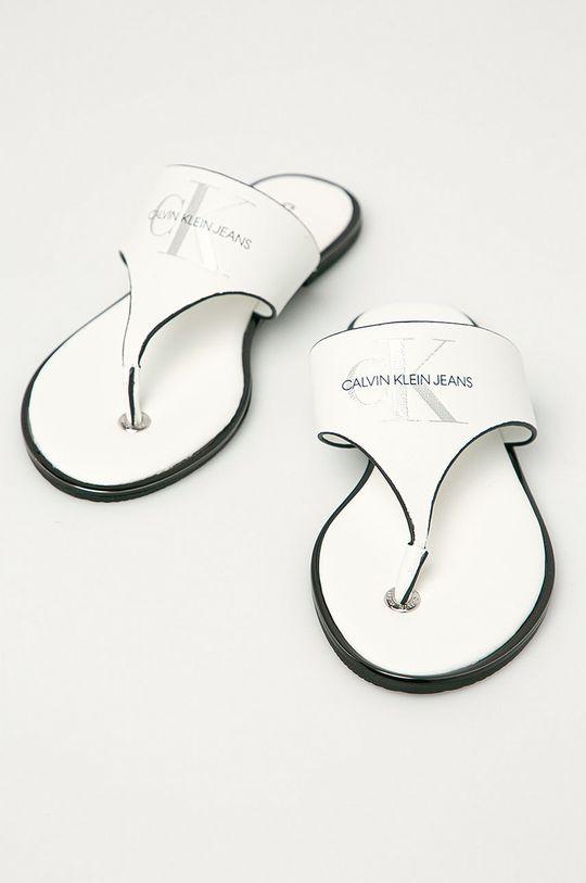 Calvin Klein Jeans - Kožené žabky biela