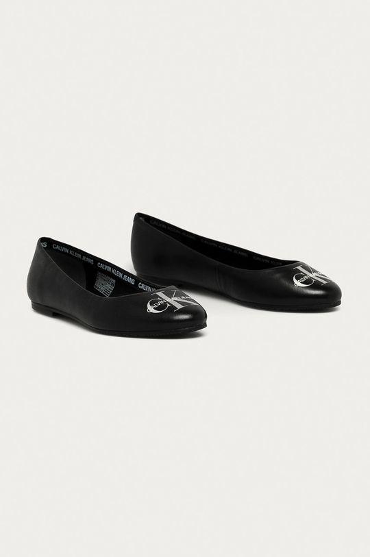 Calvin Klein Jeans - Kožené baleríny černá