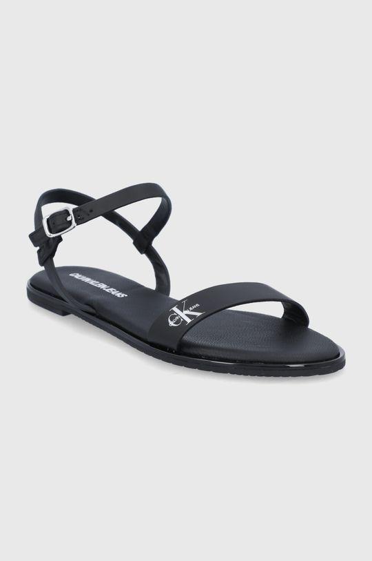 Calvin Klein Jeans - Kožené sandále čierna