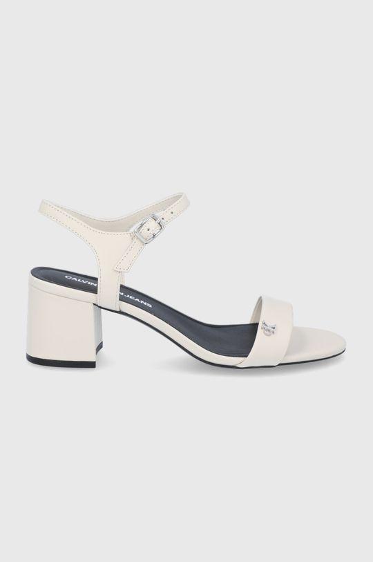smetanová Calvin Klein Jeans - Kožené sandály Dámský