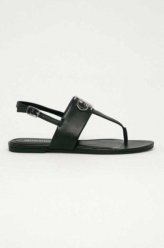 čierna Calvin Klein Jeans - Kožené sandále Dámsky