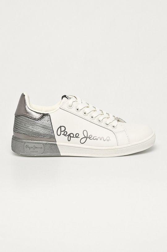 stříbrná Pepe Jeans - Kožené boty Brompton Dual Dámský
