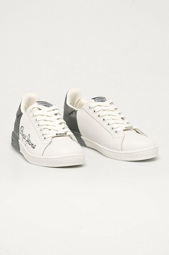 Pepe Jeans - Kožené boty Brompton Dual stříbrná