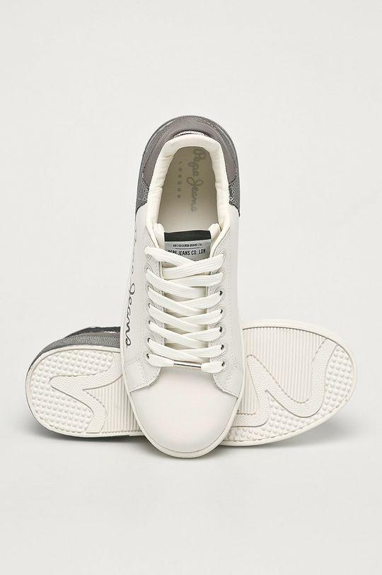 stříbrná Pepe Jeans - Kožené boty Brompton Dual