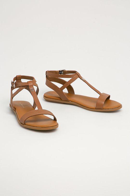 Tommy Hilfiger - Kožené sandále kávová