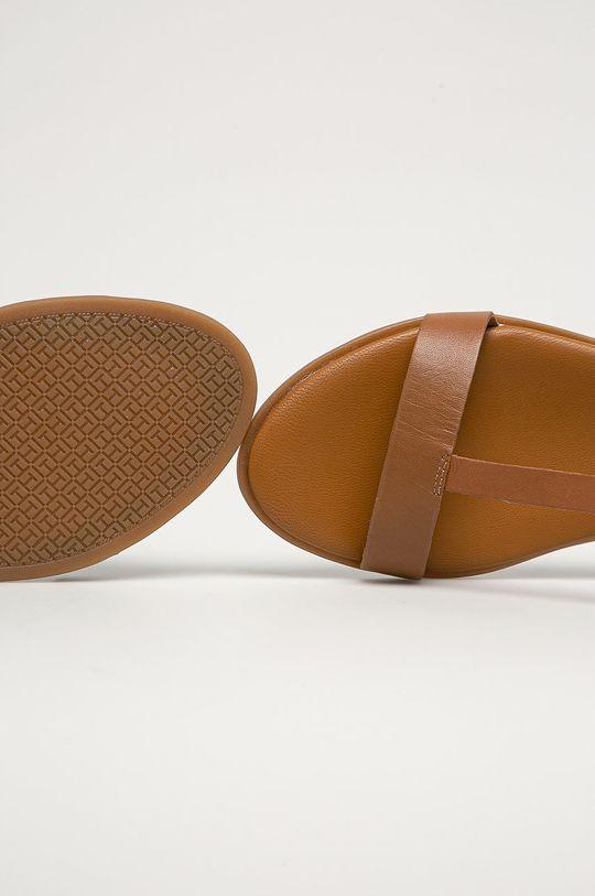 kávová Tommy Hilfiger - Kožené sandále