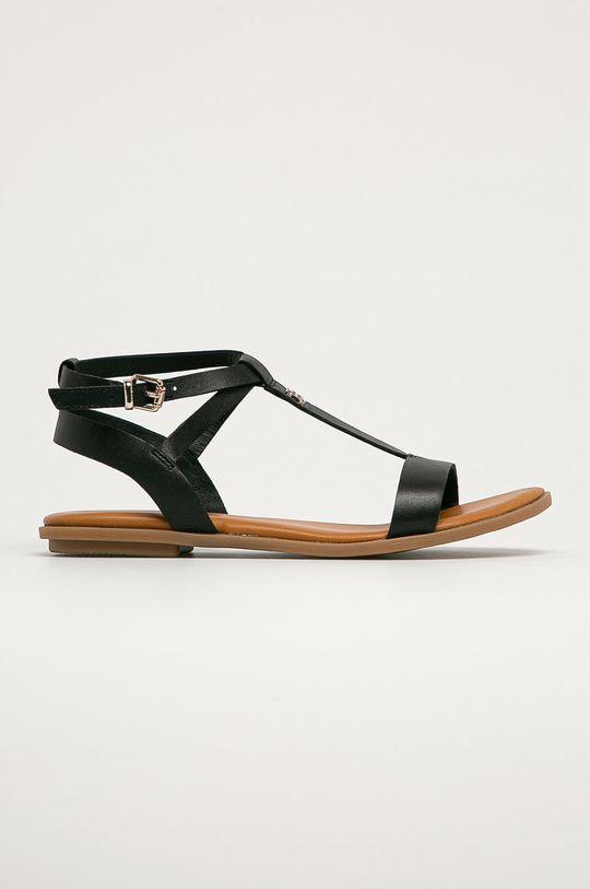 černá Tommy Hilfiger - Kožené sandály Dámský