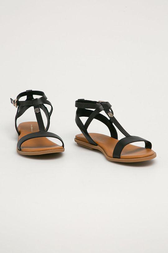 Tommy Hilfiger - Kožené sandály černá
