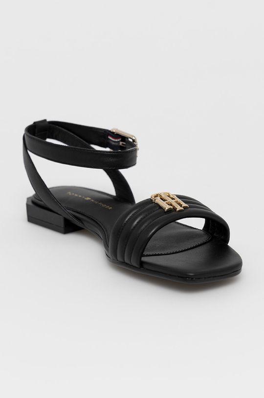 Tommy Hilfiger - Kožené sandále čierna