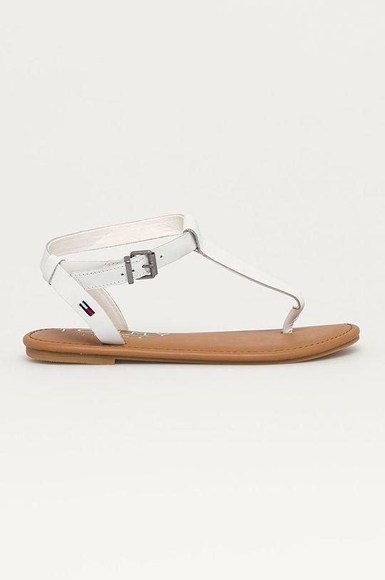 bílá Tommy Jeans - Kožené sandály Dámský