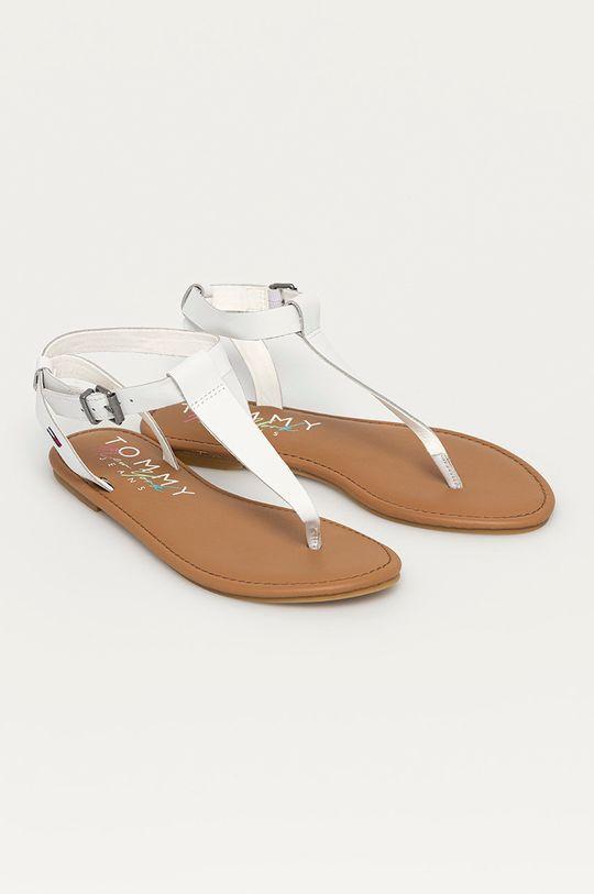 Tommy Jeans - Kožené sandály bílá