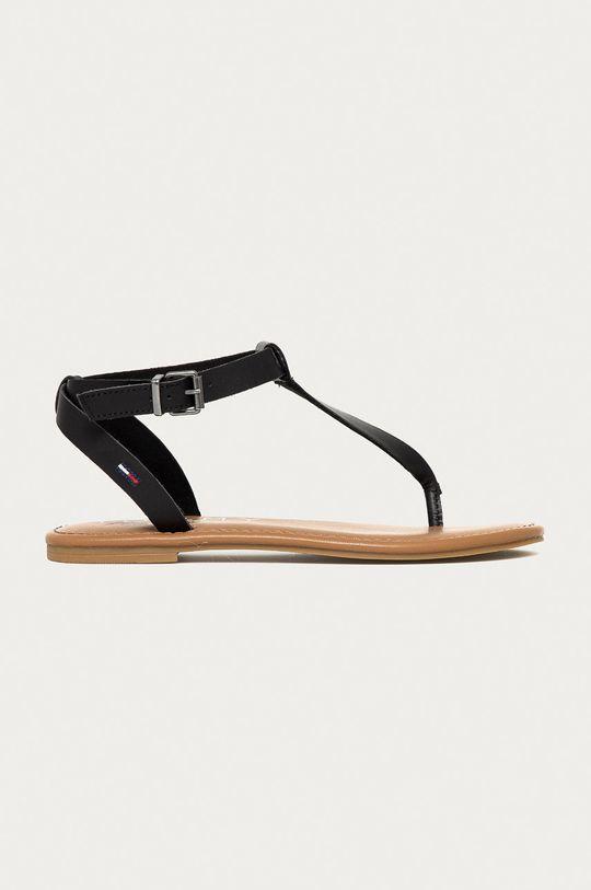 čierna Tommy Jeans - Kožené sandále Dámsky