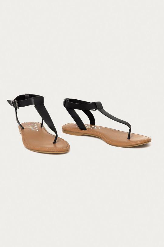 Tommy Jeans - Kožené sandále čierna
