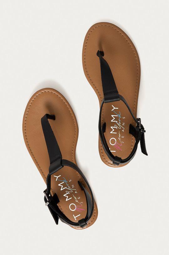 čierna Tommy Jeans - Kožené sandále