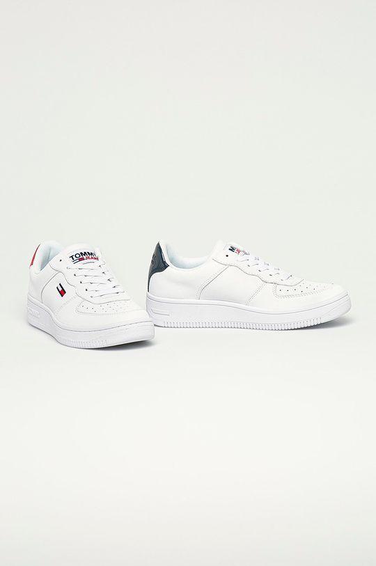 Tommy Jeans - Kožené boty námořnická modř