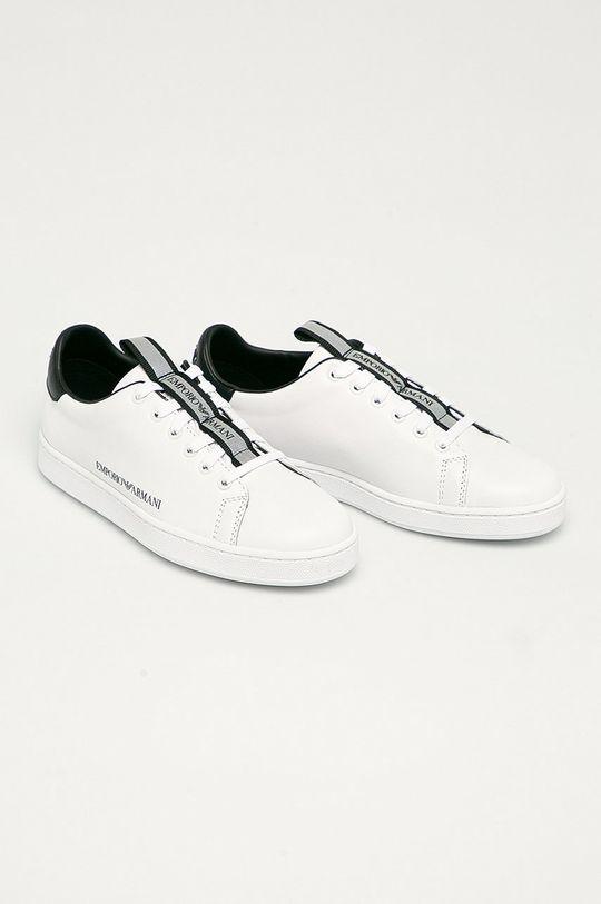 Emporio Armani - Kožené boty bílá