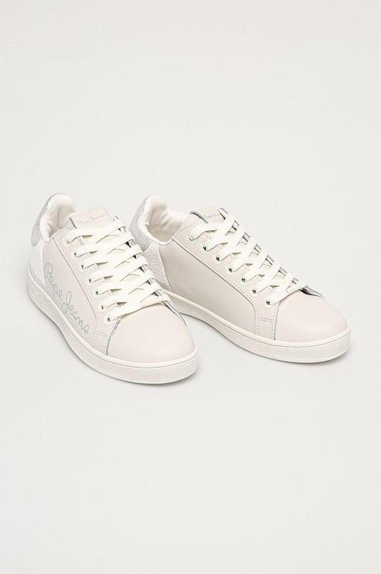 Pepe Jeans - Kožené boty Brompton Fun bílá